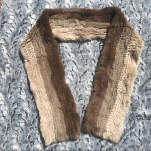 Vintage Rabbit Fur Scarf Brown Soft Fall Fashion